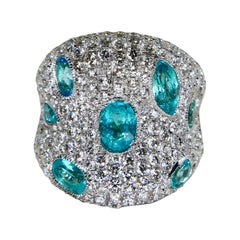 Fancy Modern Neon Blue Paraiba Tourmaline Diamond Cocktail Ring, Statement Piece