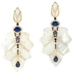 Fancy Mother of Pearl Earrings with Sapphire and Diamonds