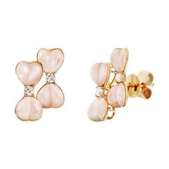 Fancy Nacre White Diamond Yellow 18 Karat Gold Earrings