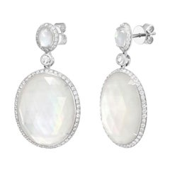 Fancy Natural Mother of Pearls Diamond White Gold Diamond Earrings for Her