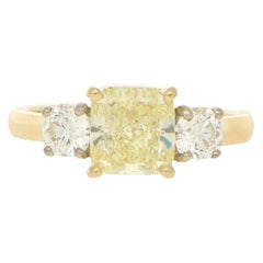 Fancy Natural Yellow Diamond Three-Stone Engagement Ring in 18k Yellow Gold