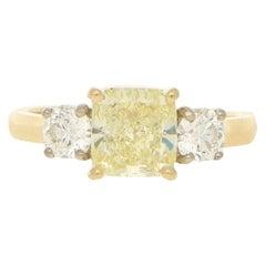 Fancy Natural Yellow and White Diamond Three-Stone Ring