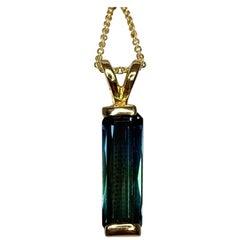 Fancy Octagon Cut 1.50 Carat Green Blue Unique Tourmaline 14 Karat Gold Pendant