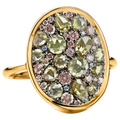 Fancy Olive Green Pink Diamond, Rose Cut & Briljant-Cut Diamond Pave Mosaic Ring