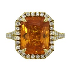 Fancy Orange Sapphire Diamond Gold Ring, GIA Certified