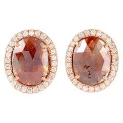 Fancy Oval Diamond 18 Karat Gold Stud Earrings