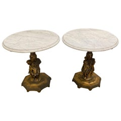 Fancy Pair of Italian Rococo Figural Marble Top Side Tables