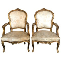 Fancy Pair of Louis XV Style Gold Giltwood Bergère Armchairs