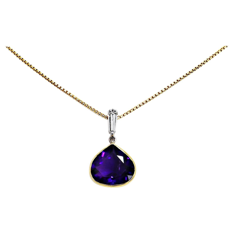 Fancy Pear Shape Amethyst and Diamond 18 Carat Gold Pendant