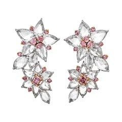 Fancy Pink and White Diamond Earrings