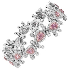 GIA Certified Fancy Pink Diamond Bracelet In 18K Pink-White Gold