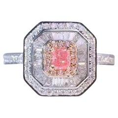 Fancy Pink Diamond Ring 18 Karat White Gold