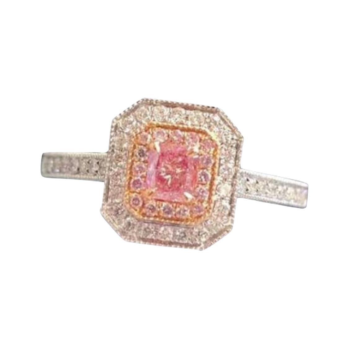 Fancy Pink Diamond Ring 18k White Gold