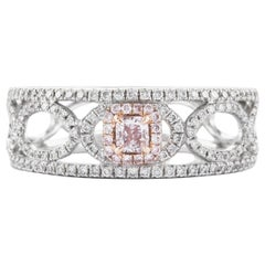 Takat 0.20 Cts Fancy Pink Diamond Ring In 18K Pink / White Gold