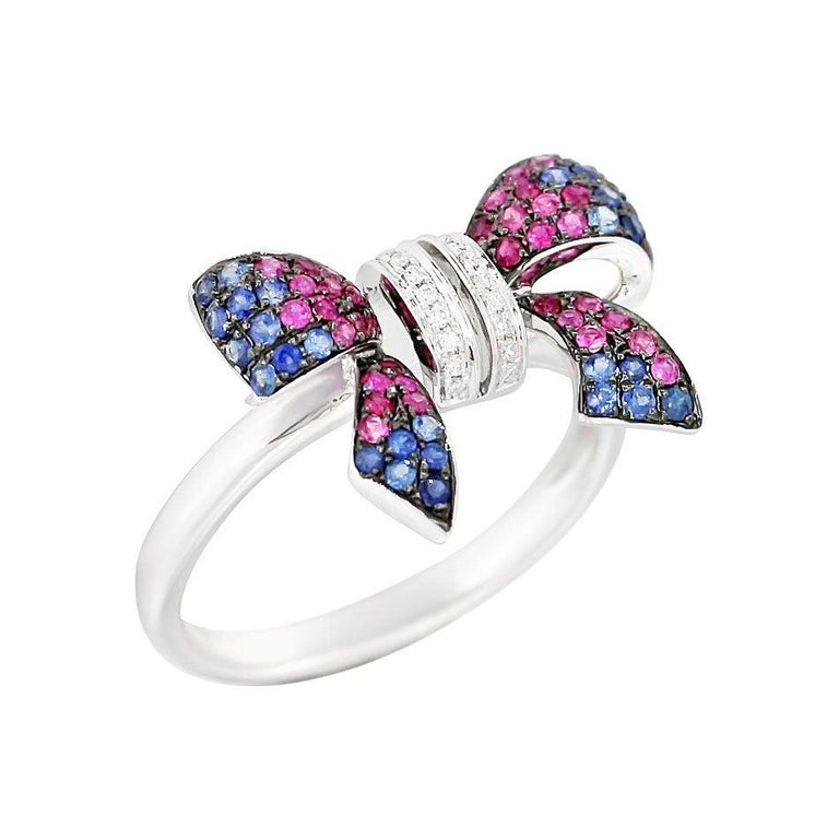 Fancy Pink Sapphire Blue Sapphire Ruby White Diamond White Gold Ring In New Condition For Sale In Montreux, CH