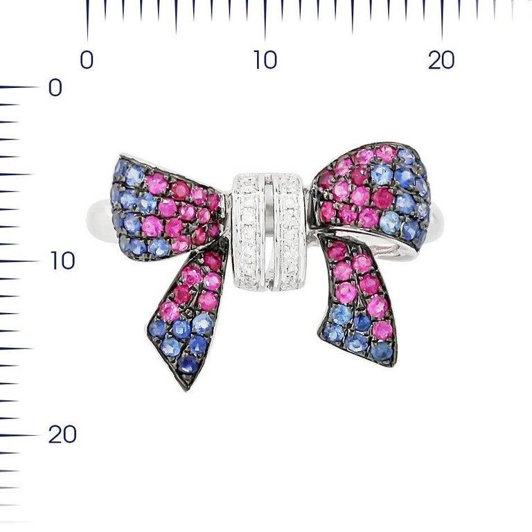 Women's Fancy Pink Sapphire Blue Sapphire Ruby White Diamond White Gold Ring For Sale