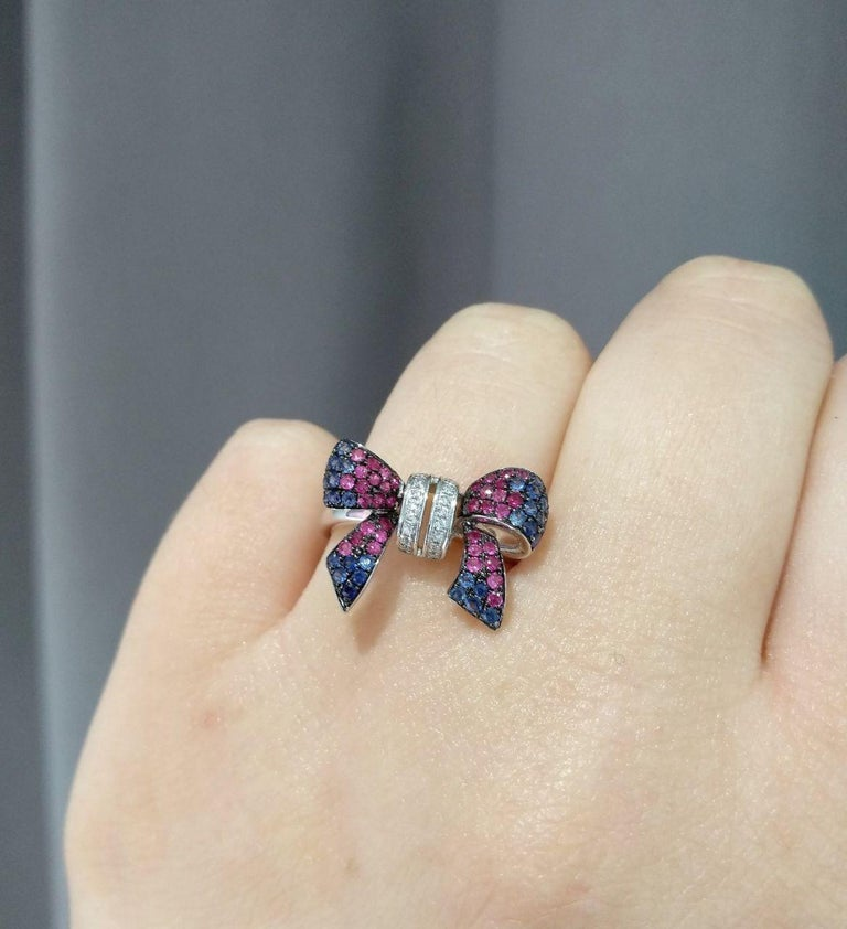 Fancy Pink Sapphire Blue Sapphire Ruby White Diamond White Gold Ring For Sale 1
