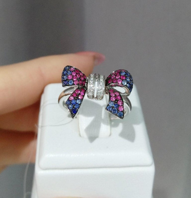 Fancy Pink Sapphire Blue Sapphire Ruby White Diamond White Gold Ring For Sale 2