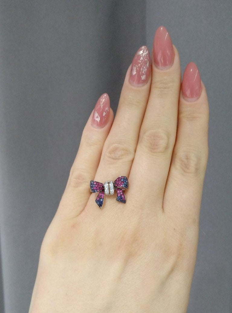 Fancy Pink Sapphire Blue Sapphire Ruby White Diamond White Gold Ring For Sale 4