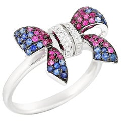 Fancy Pink Sapphire Blue Sapphire Ruby White Diamond White Gold Ring