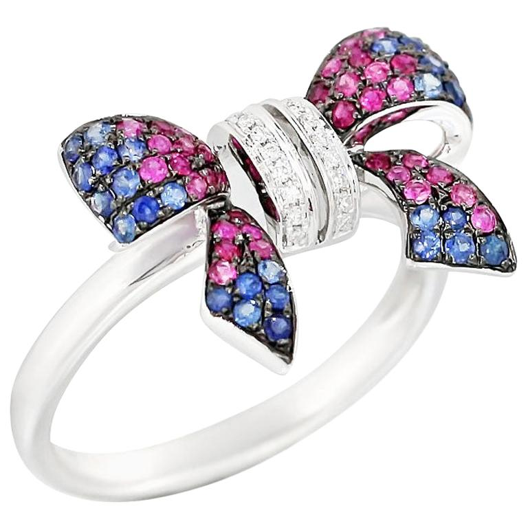 Fancy Pink Sapphire Blue Sapphire Ruby White Diamond White Gold Ring For Sale