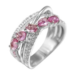 Fancy Pink Sapphire Diamond White Gold Ring