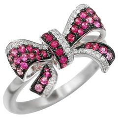 Fancy Pink Sapphire White Diamond White Gold Bow Tie Statement Ring