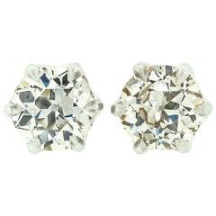 Fancy Platinum 3.17 Carat GIA Certified Old European Diamond Stud Earrings