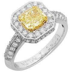 Fancy Radiant Yellow Solitaire Diamond 18 Karat Two-Tone Halo Ring