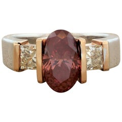 Fancy Red and Colorless Diamond Two-Tone Gold Ring, GIA Certified