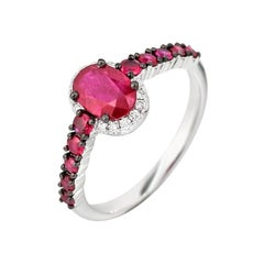 Fancy Ruby White Diamond White Gold Every Day Statement Ring