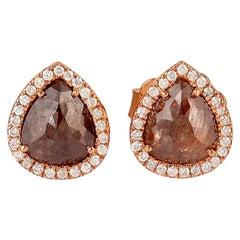 Fancy Diamond 18 Karat Gold Stud Earrings