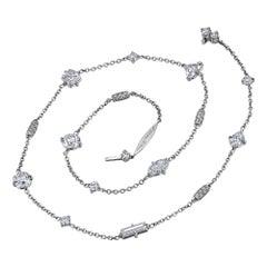 Fancy Shape Diamond Platinum Necklace