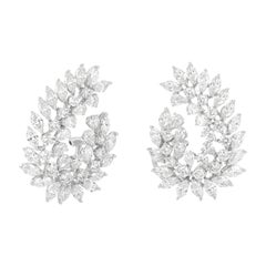 Fancy Shaped Diamond Open Hoop Earrings