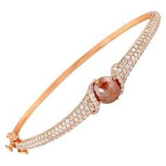 Fancy Slice Diamond 18 Karat Gold Bangle Bracelet