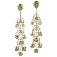 Fancy Slice Diamond 18 Karat Gold Chandelier Earrings