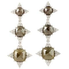 Fancy Slice Diamond 18 Karat Gold Earrings
