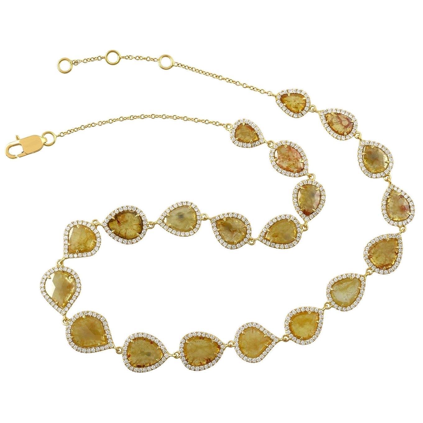 Fancy Slice Diamond 18 Karat Gold Necklace
