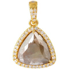 Fancy Slice Diamond 18 Karat Gold Pendant Necklace