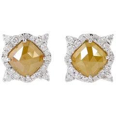 Fancy Slice Diamond 18 Karat Gold Stud Earrings