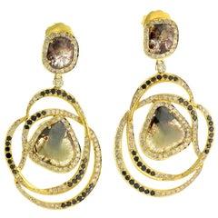 Fancy Slice Diamond 18 Karat Gold Swirl Earrings