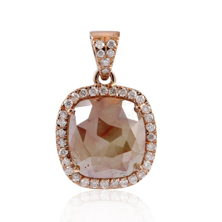 Fancy Slice Diamond 18 Karat Rose Gold Pendant Necklace In New Condition For Sale In Hoffman Estate, IL