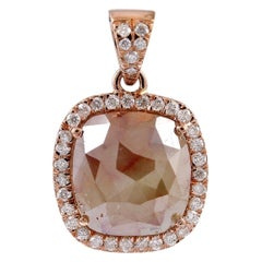 Fancy Slice Diamond 18 Karat Rose Gold Pendant Necklace