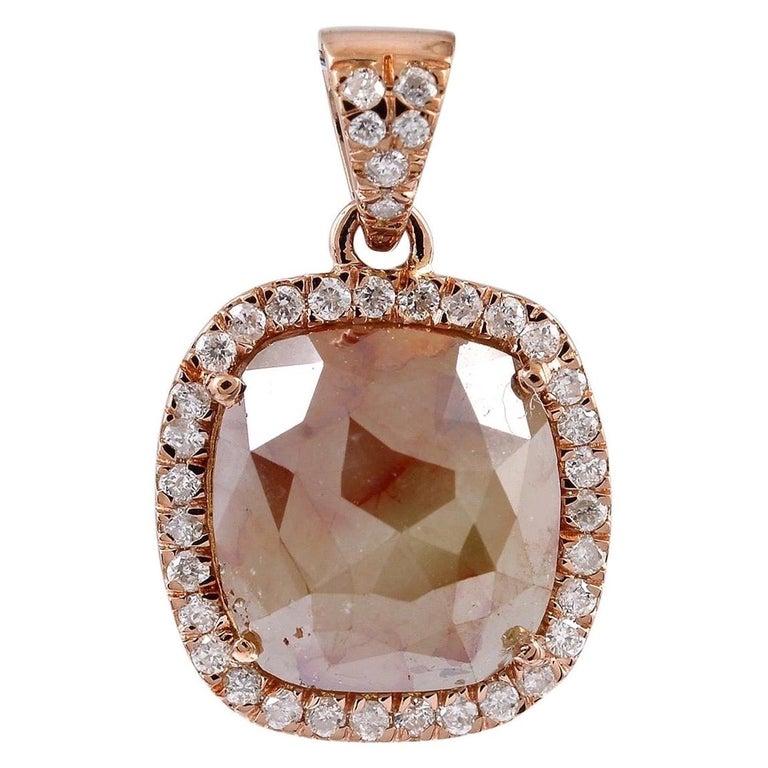 Fancy Slice Diamond 18 Karat Rose Gold Pendant Necklace For Sale