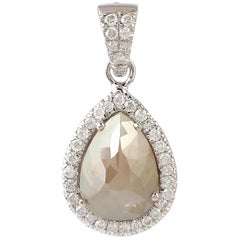 Fancy Slice Diamond 18 Karat White Gold Pendant Necklace