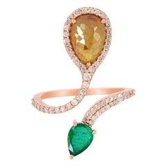 Slice Diamond Emerald 18 Karat Gold Ring