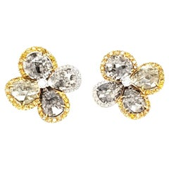 Fancy Sliced Natural Diamonds and Yellow Diamond Gold Earrings
