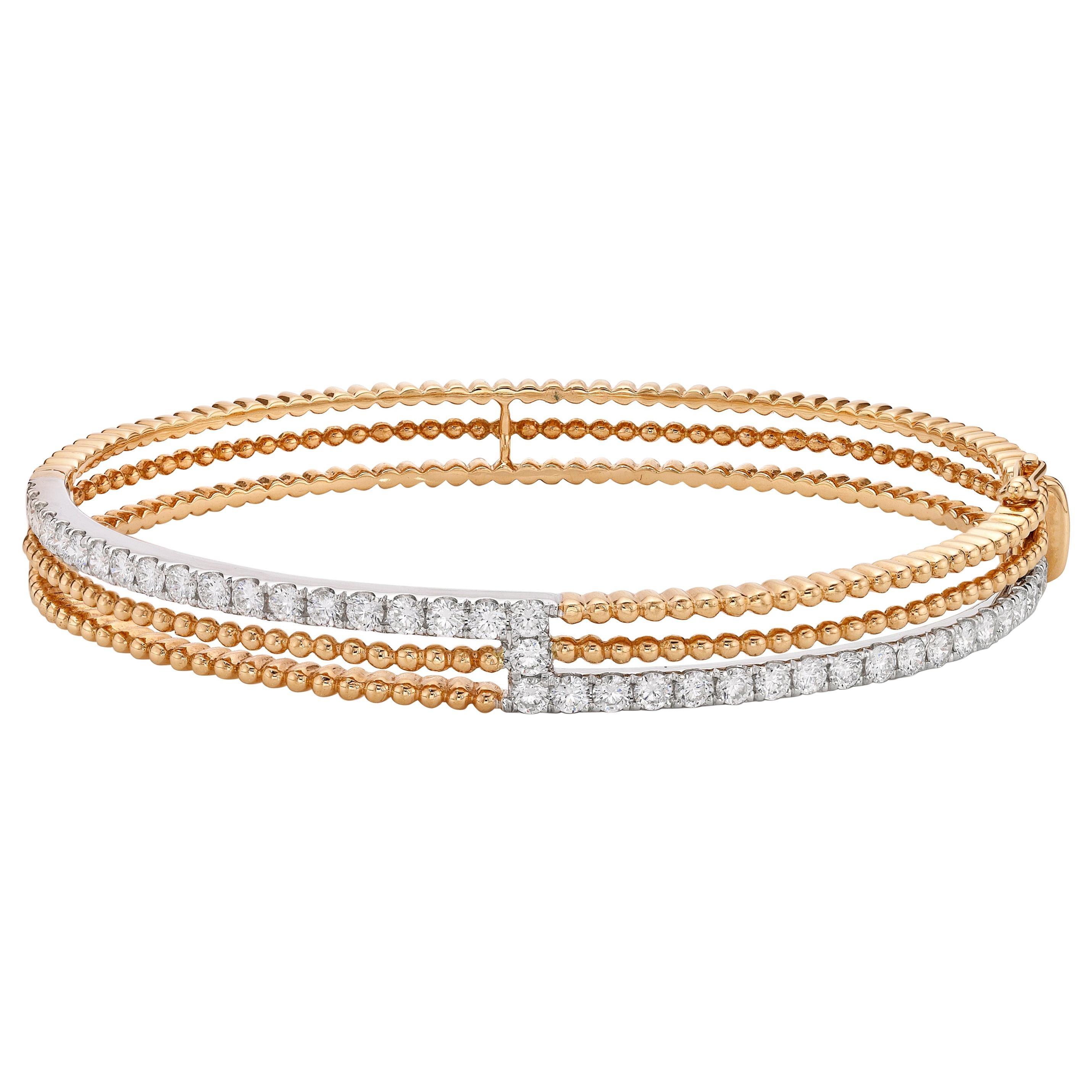 Fancy Three Layered Cuff Bracelet 18 Karat Gold Bangle Bracelet