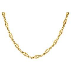 Fancy Victorian 18 Karat Gold Chain Necklace
