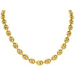 Fancy Vintage 18 Karat Gold Long Chain Necklace
